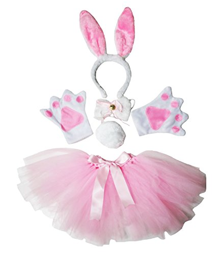 Easter Halloween Costume Pink Bunny Rabbit Headband Paw Bow Tail Gauze Skirt Set