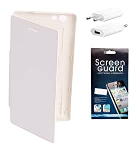 KolorEdge Flip Cover + Screen Protector + Usb Charger For Sony Xperia Miro-ST23i - White