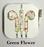 Goldstar® Earphones Headphones Headset with Remote Mic & Volume Controls For Apple iPod iPad iPhone 4 4S, iPhone 5 5S, 5C, 5G, 6, 6Plus (Green Flower)