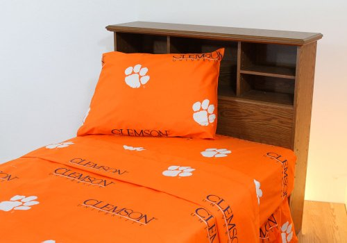 Clemson Tigers Collegiate Twin Xl Sheet Set - 4Pc Ncaa Orange Bedding Twin X-Long Bed