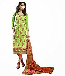 Green Color Cotton Unstitched Salwar Kameez Embroidered Dress Material