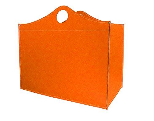 WOODBAG: borsa in cuoio portalegna e/o pellet, in cuoio rigenerato colore Arancio, con ruote gommate.