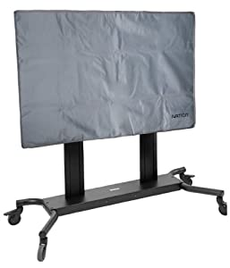 Ivation Outdoor TV Cover w/Enclosed Remote Pocket - Water & Dust Resistant - Cut to Accommodate Most TV Mounts & Stands - Neutral Grey