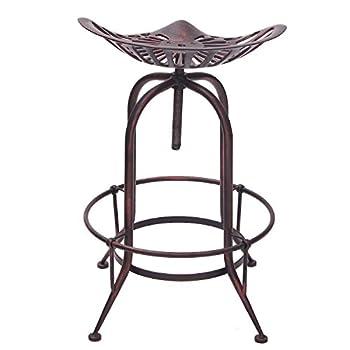 Adeco Tractor Seat Antique Metal Farmhouse Adjustable Stool, Rustic Bronze