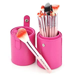 Beauties Factory 18pcs Makeup Brushes Pink Leather Brush Stand (Gaga) by Beauties Factory