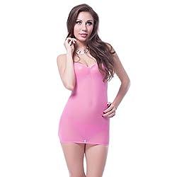 NImra Fashion Pink Solid Babydoll (Free)