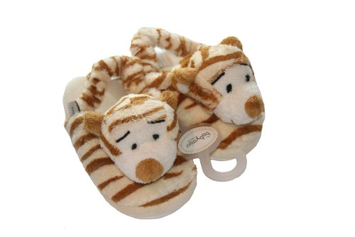 Plush Tiger Print Baby Slippers - 1