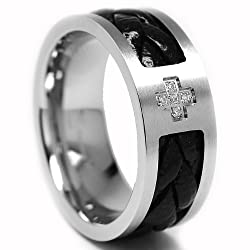 9MM Stainless Steel CZ Cross Ring with Braided Leather Inlay Size 11