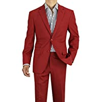 Gino Valentino Men's Modern Fit Two Button Two Piece Linen Suit (38 Regular US / 48 Regular EU, Rio Red)