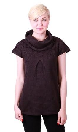 Design History Women's Cowl-Neck Cap Sleeve Sweater (Small, Black)