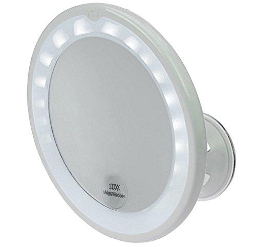 Kosmetex Spiegel, mit 10 fach Vergrößerung, LED Beleuchtung und Saugnapf. Ø 17, 5 cm
