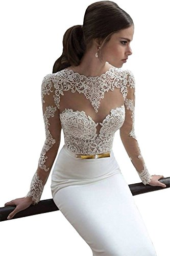 Ok Dress Women's Long Sleeve Lace Mermaid Wedding Dresses 2015 Backless Bridal Gowns (US14, White)