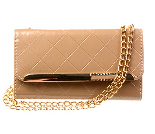 Kiss Gold Glossy Leather Lattice Mini Shoulder Bag For Apple Iphone 5/5S (Beige)