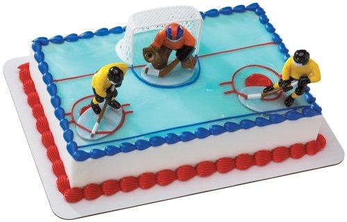 Hockey FaceOff DecoSet Cake Decoration (Plastic Ice Hockey compare prices)