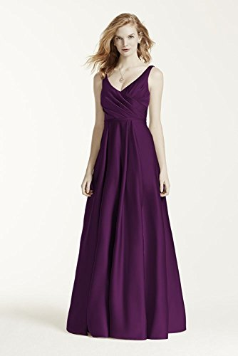 Short Satin Tank Long Ball Gown Bridesmaid Dress Style F15741, Plum, 16