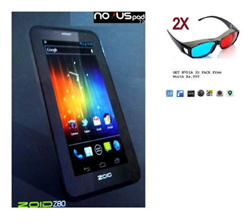 7 inch Novus Pad Zoid Z80 Android 4.1 Jellybean Dual Sim 3G Dual Core 3D Tablet Pc Phone Calling Sim Slot + Free Flip Cover & Pair of NVIDIA 3D Glasses