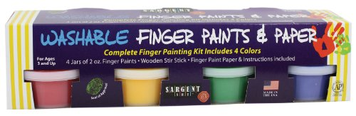 Sargent Art 66-7012 4-Count Art Time Washable Finger Paint Set with Paper and Mixing Stick