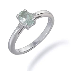 1 CT Green Amethyst & Diamond Ring In Sterling Silver (Available in Sizes 5 - 9) from FineDiamonds9