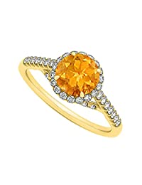 Citrine And CZ Specially Designed Engagement Ring In Yellow Gold Plated Vermeil Best Design Great Price