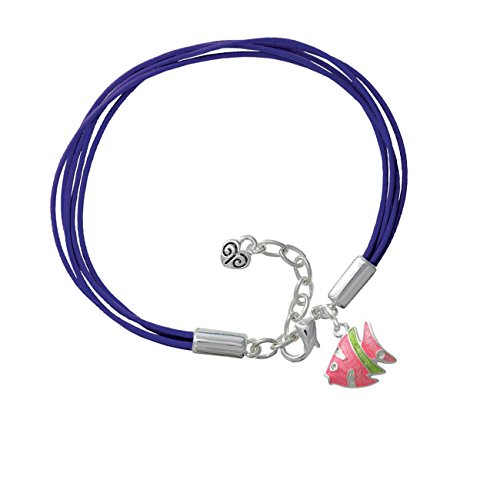 Hot Pink Tropical Fish With Lime Green Stripe Purple Leather Aruba Bracelet
