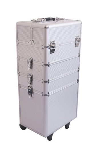 Mollycoddle 4 in1 Silver Hairdressing Makeup Beauty Case Cosmetics Trolley *NEXT DAY DELIVERY
