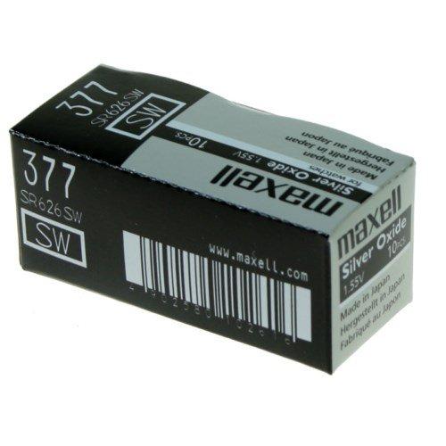 Maxell-SW Batterie 377 SR626 oxyde d'argent pour montre 1,55 V-PACK DE 10
