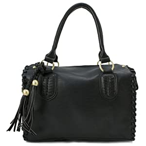 Scarleton Vintage Top Zip Satchel H111301 - Black