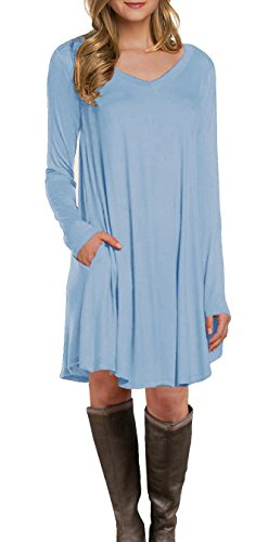LILBETTER Women's Long Sleeve Pocket Casual Loose T-Shirt Dress (Light Blue M)