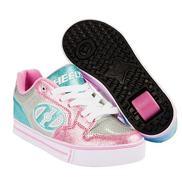 Heelys Motion Plus Silver//Light Pink/Light Blue Kids 4uk