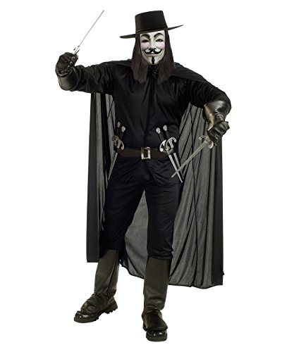 V For Vendetta Guy Fawkes Adults Costume Bundle