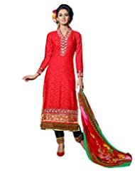 Surat Tex Red Color Embroidered Cotton Jacquard Semi-Stitched Salwar Suit-E284Dl9096Sa