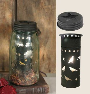 Quart Mason Jar Electric Wax Tart Warmer Kit (Black Metal Punched Crows) (Tinted Mason Jars compare prices)