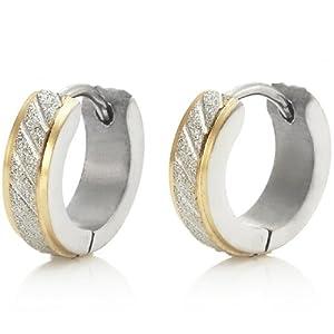 Sparkling Stainless Steel Mens Hoop Earrings Silver Gold