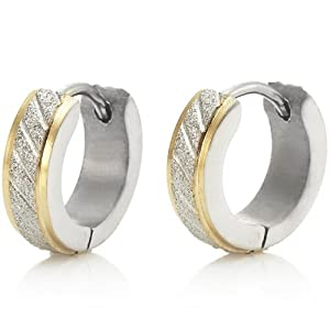Sparkling Stainless Steel Mens Hoop Earrings Silver Gold: Jewelry