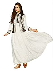 BanoRani Cream Color Chiffon Jacquard Embroidery Semi Stitched Gown Style Salwar Suit with Jacket