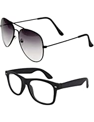 Unisex Uv Protected Combo Pack Of Aviator Sunglasses And Clear Wayfarer Sunglasses ( Black Shd Black - Clear Black...