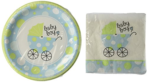 It's A Boy Party Pack - Blue Baby Shower - 18 Plates & 20 Napkins (Paper Goods For Baby Boy Shower compare prices)