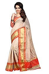 Fabcart Orange And Beige Poly Cotton Saree with Blouse Piece