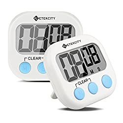 2 Pack Etekcity Digital Kitchen Timer: Large LCD Display, Battery Included (White)