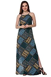 PURYS abstract print maxi with side slit - Large