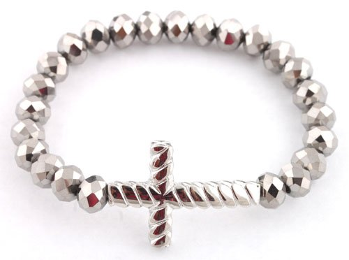 Ladies Metallic Silver with Silver Twisted Style Cross Glass Beaded Stretch Bracelet