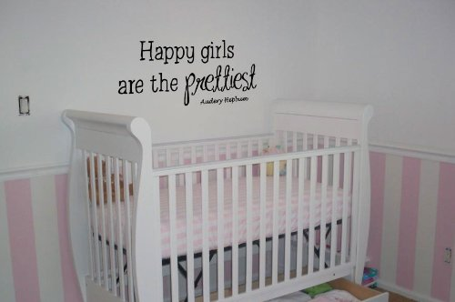 Audrey Hepburn Happy Girls Are The Prettiest - Little Girls - Nursery Vinyl Wall Art Decal Stickers Decor Graphics front-901287