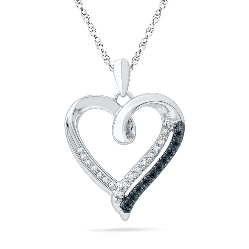 Sterling Silver Black and White Round Diamond Heart Pendant (1/10 cttw): D-Gold: Jewelry