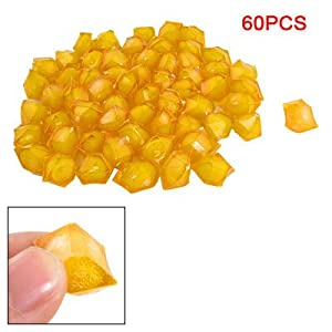 60 Pcs Clear Yellow Plastic Crystal Stone Decor for Aquarium