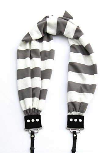Capturing Couture SCARF-STGY Grey Stripe Scarf Collection Camera Strap