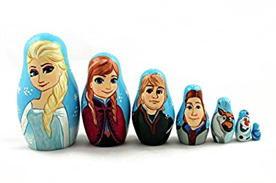 Matryoshka Russian Nesting Doll Babushka Beautiful Cartoon Characters Frozen Elsa Elza 7 Pieces Pcs Wooden Hand Painted Souvenir Craft Gift