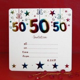Pack of 10 50th birthday party invitations for 50th birthday decoration packs