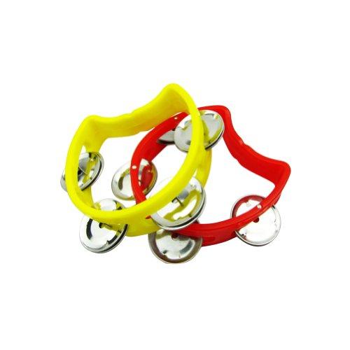 Kids Tambourine Tam4-YW-RD Plastic Cutaway Tambourine Half Blossom with 4 Jingles, Mini, Random Color, 2 Pack (Tamborines For Kids compare prices)