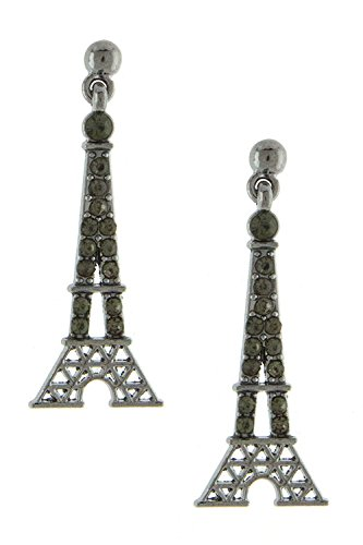 Karmas Canvas Take Me To Paris Bejeweled Eiffel Tower Dangle Earring (Hematite)