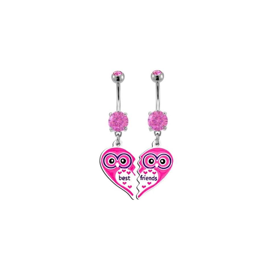 Pink Owl Heart Best Friend dangle set Belly Ring   316L Implant Grade Surgical Steel 14g 14 gauge  Sold as a Set